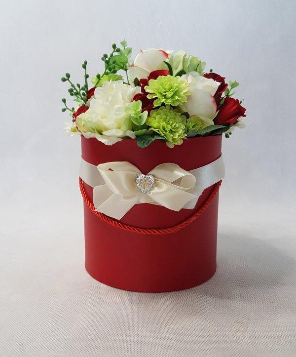 czerwone i białe róże w pudełku - wzór 42 - zdj. 1