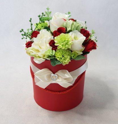 czerwone i białe róże w pudełku - wzór 42 - zdj. 3