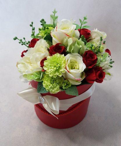 czerwone i białe róże w pudełku - wzór 42 - zdj. 4