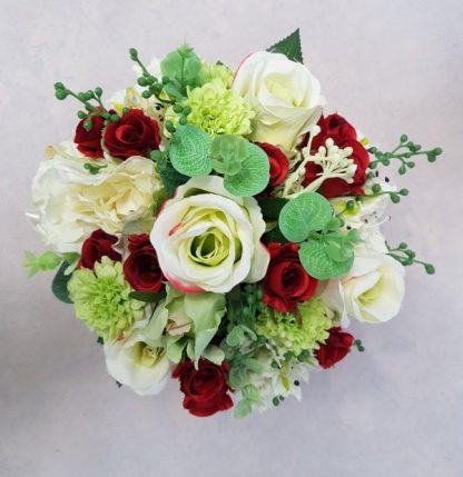 czerwone i białe róże w pudełku - wzór 42 - zdj. 5