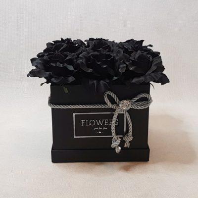czarne róże w pudełku - wzor 68 - 1